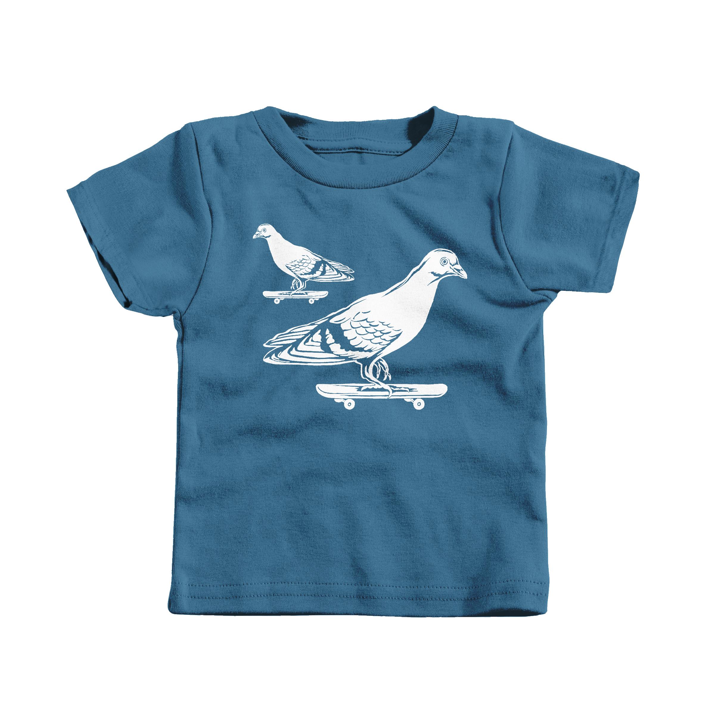 Skateboarding Pigeons Indigo (T-Shirt)