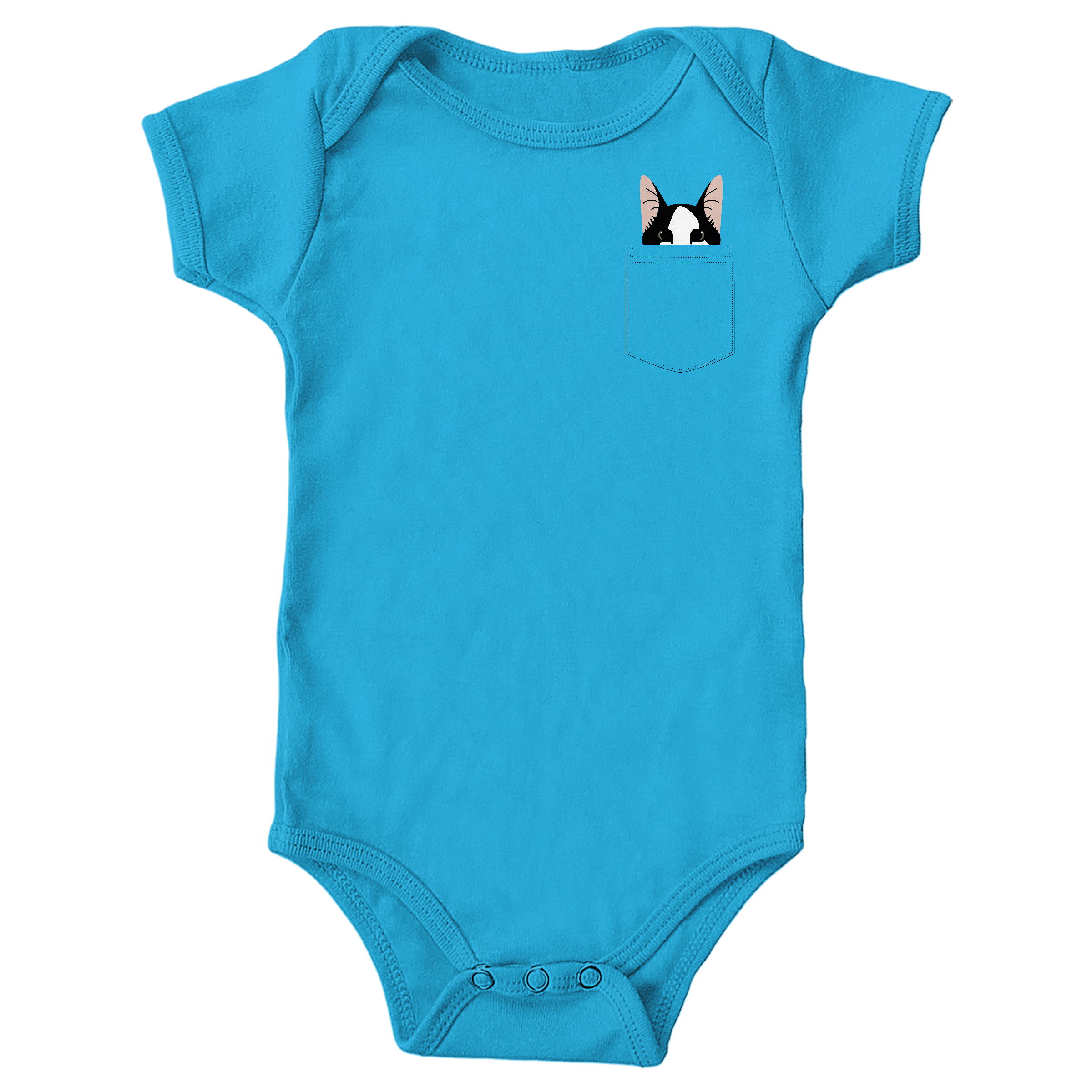 Pocket Cat Turquoise (Onesie)