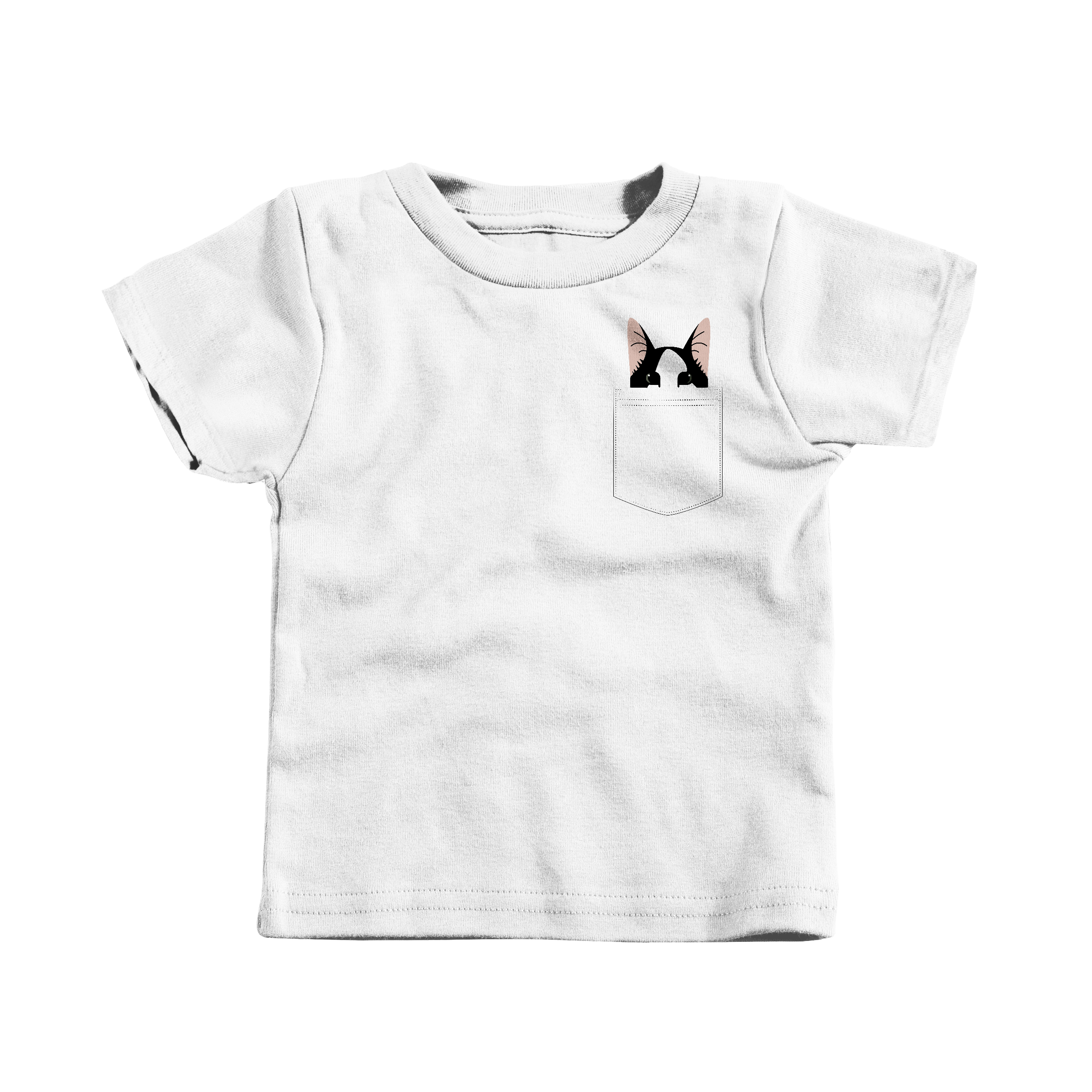Pocket Cat White (T-Shirt)