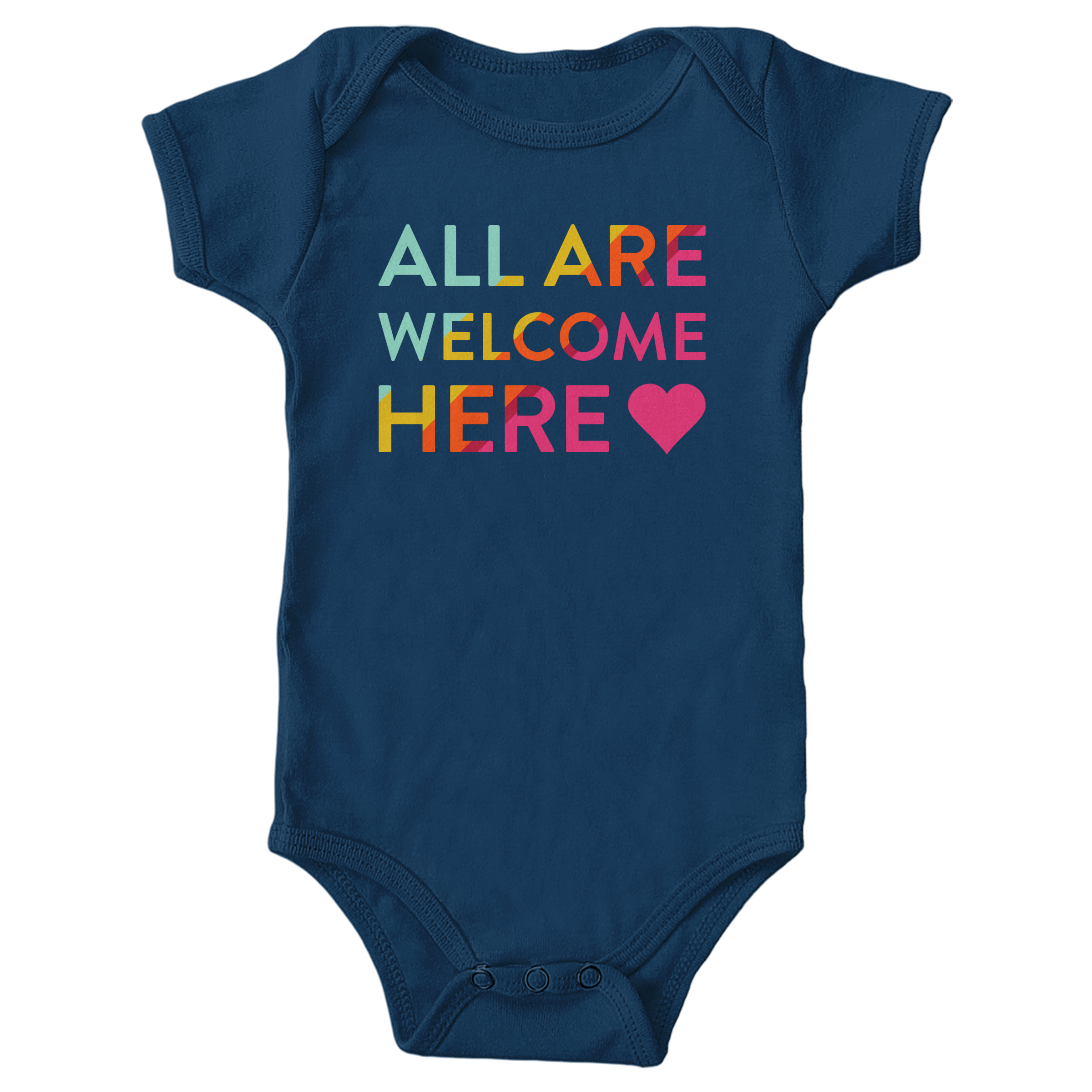 All Are Welcome Here Navy (Onesie)