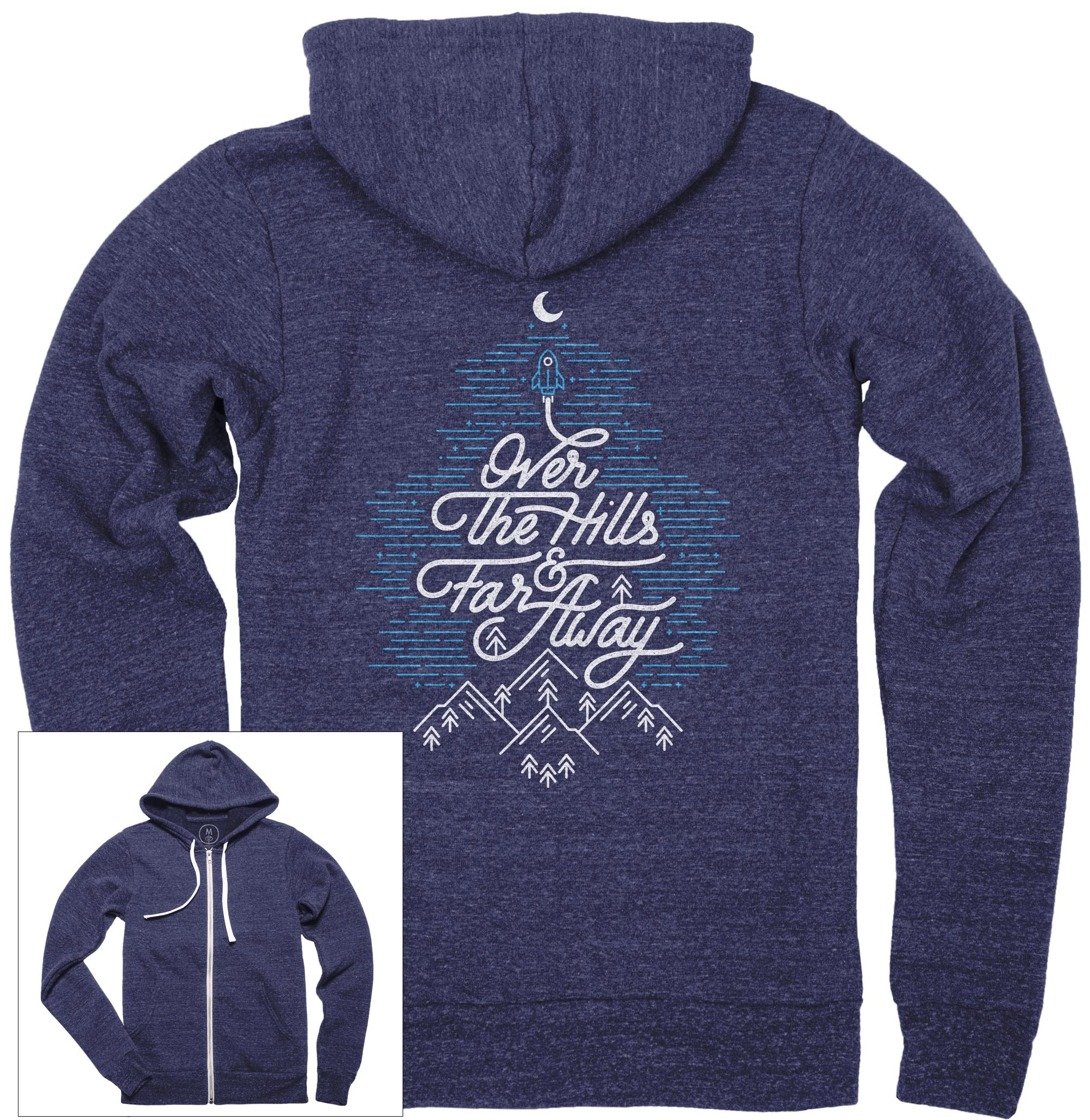 Over The Hills And Far Away Zip Hoodie
