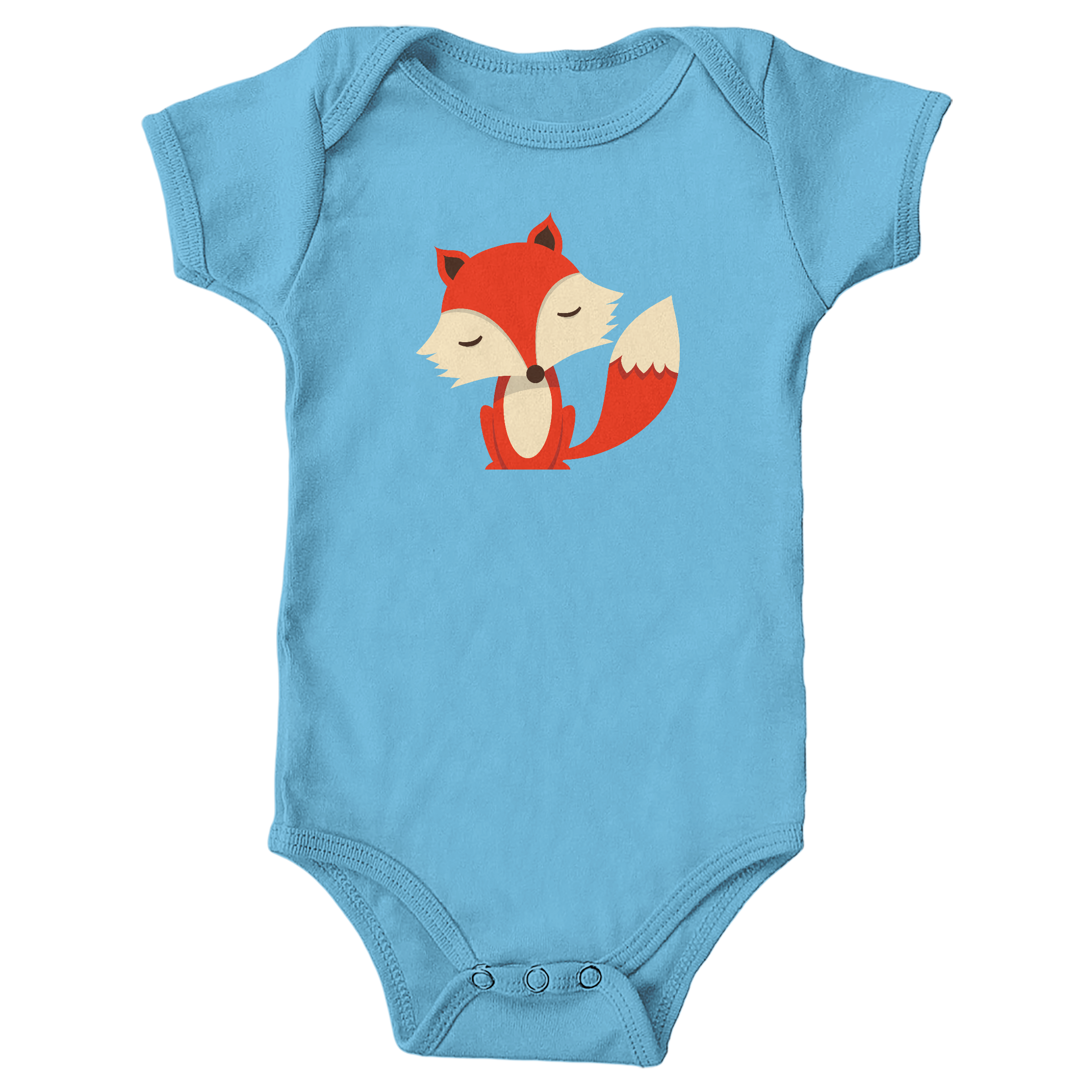 Friendly Fox Light Blue (Onesie)