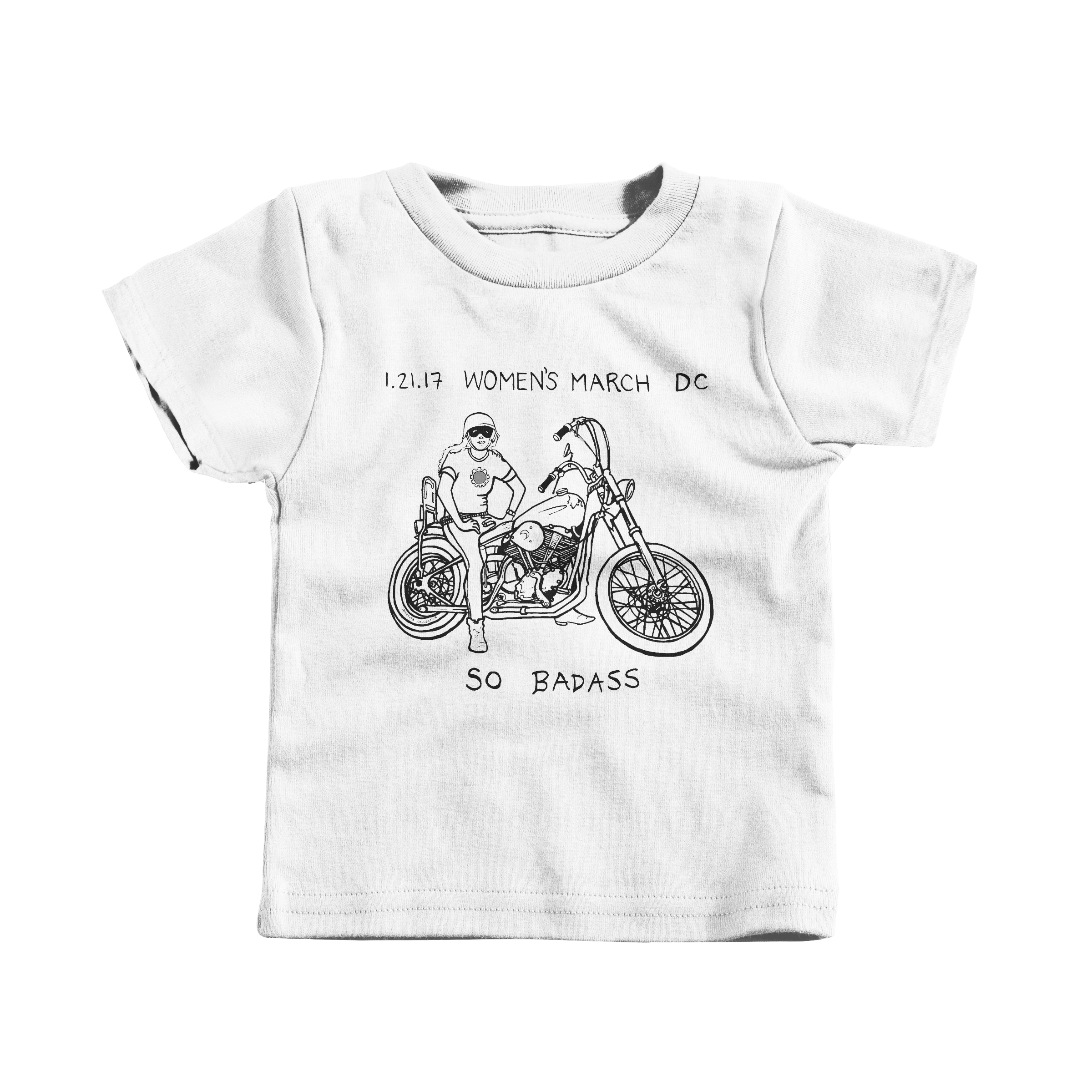 Women's March Biker Chick White (T-Shirt)