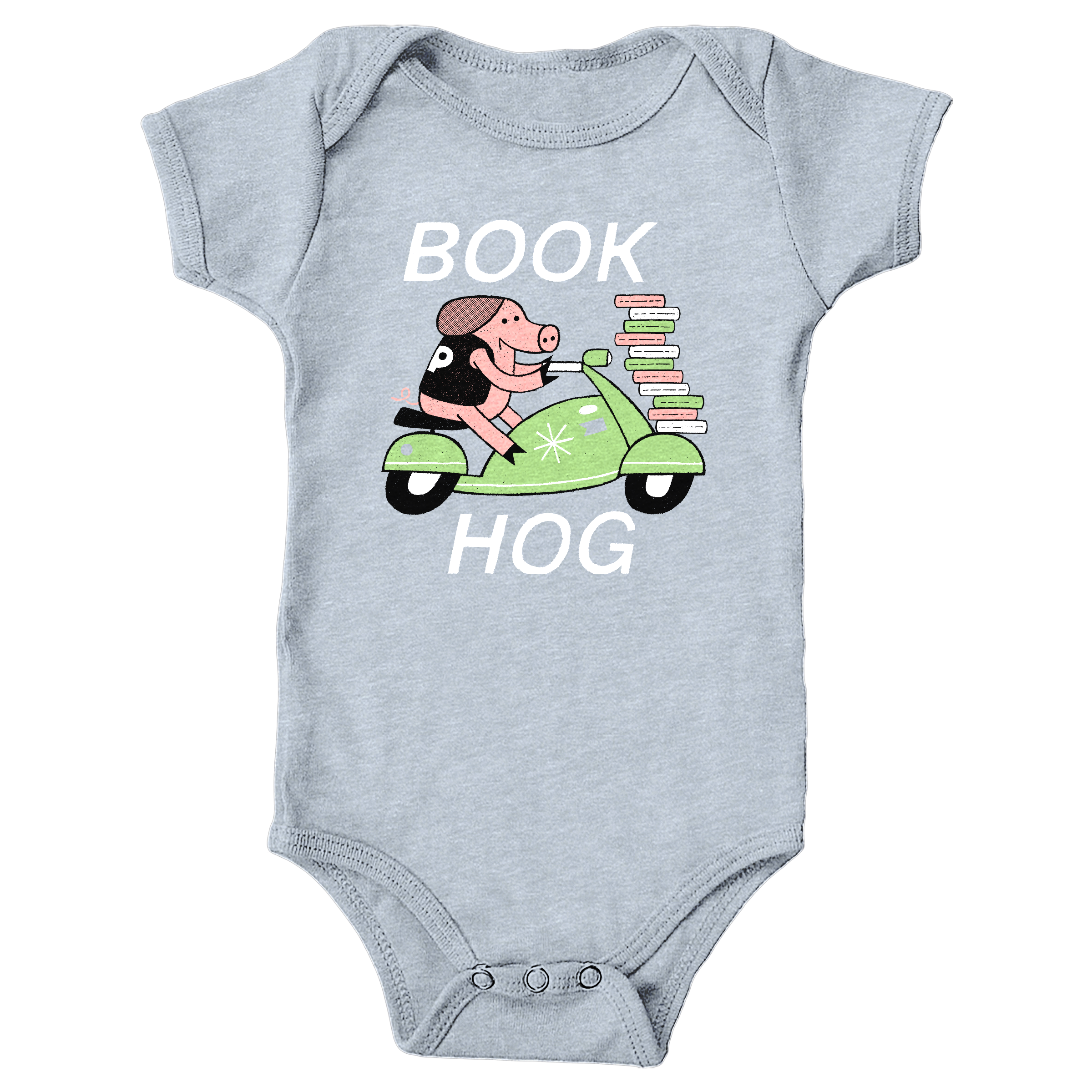 Book Hog! Heather Grey (Onesie)