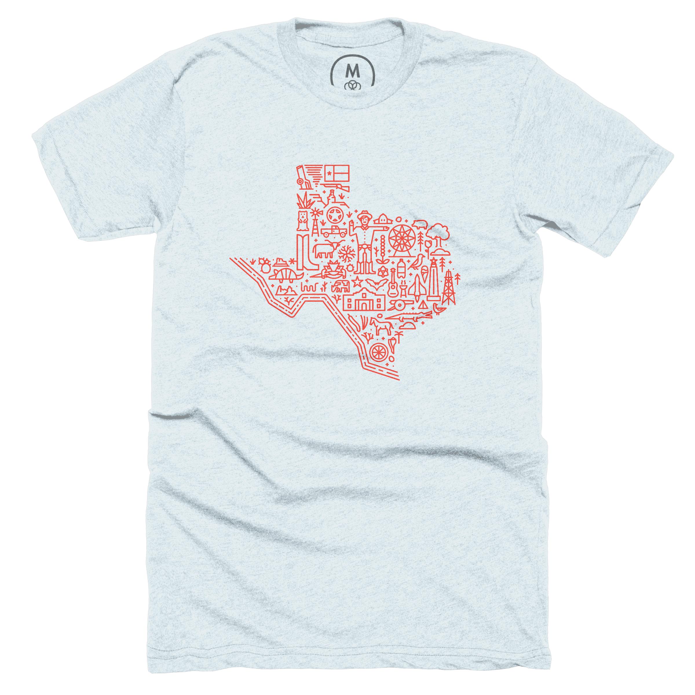 Icon Map of Texas Ice Blue (Men's)