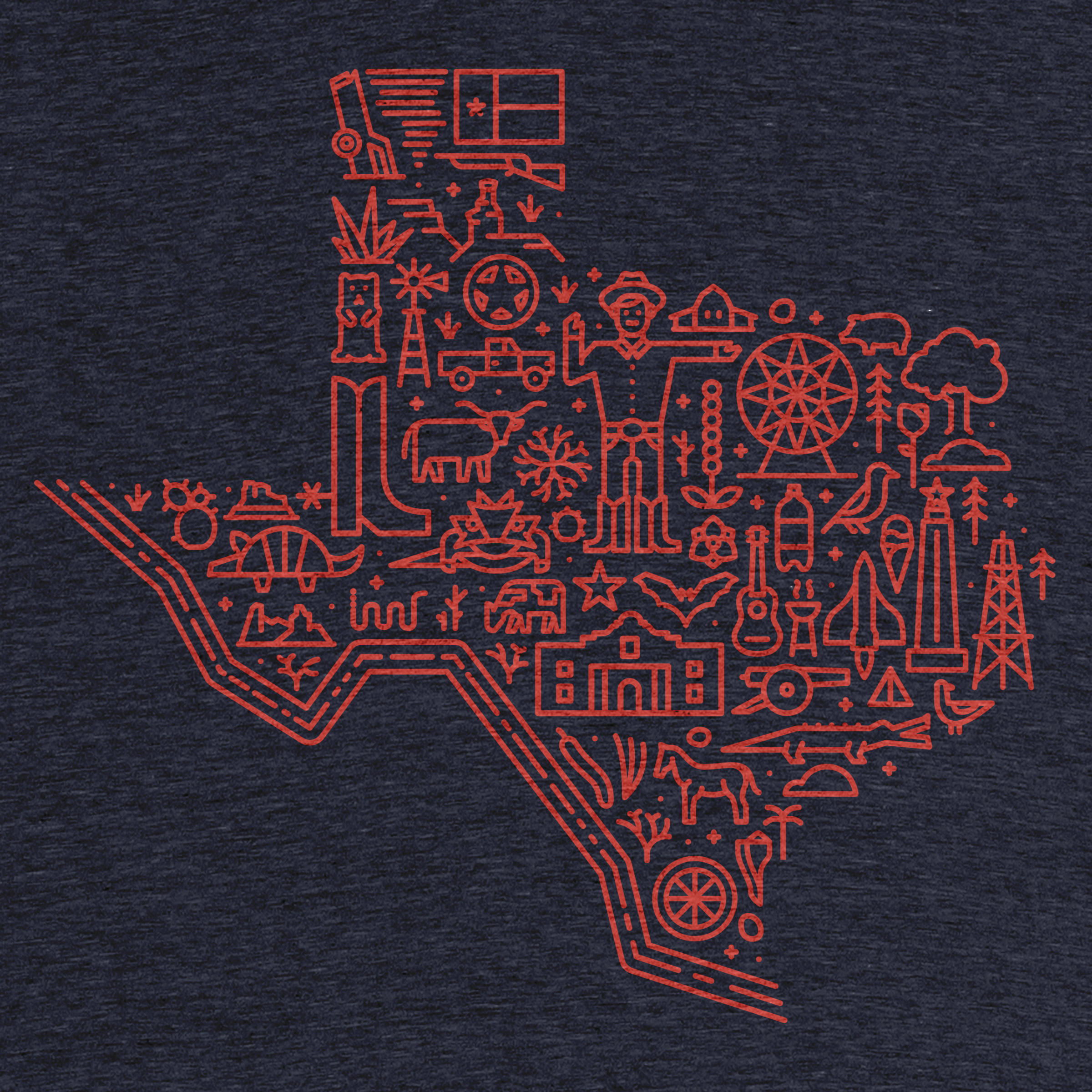 Icon Map of Texas Detail