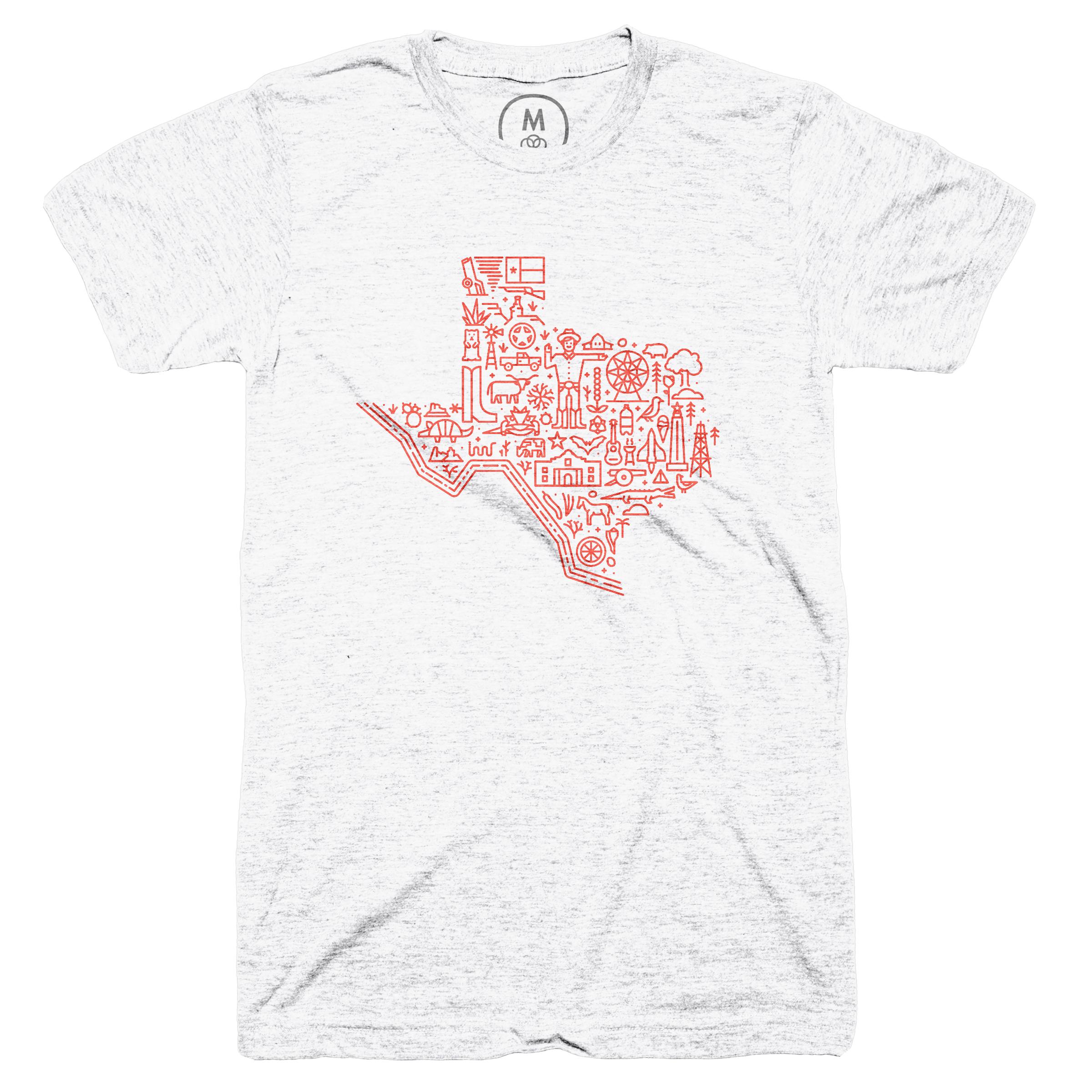 Icon Map of Texas Heather White (Men's)