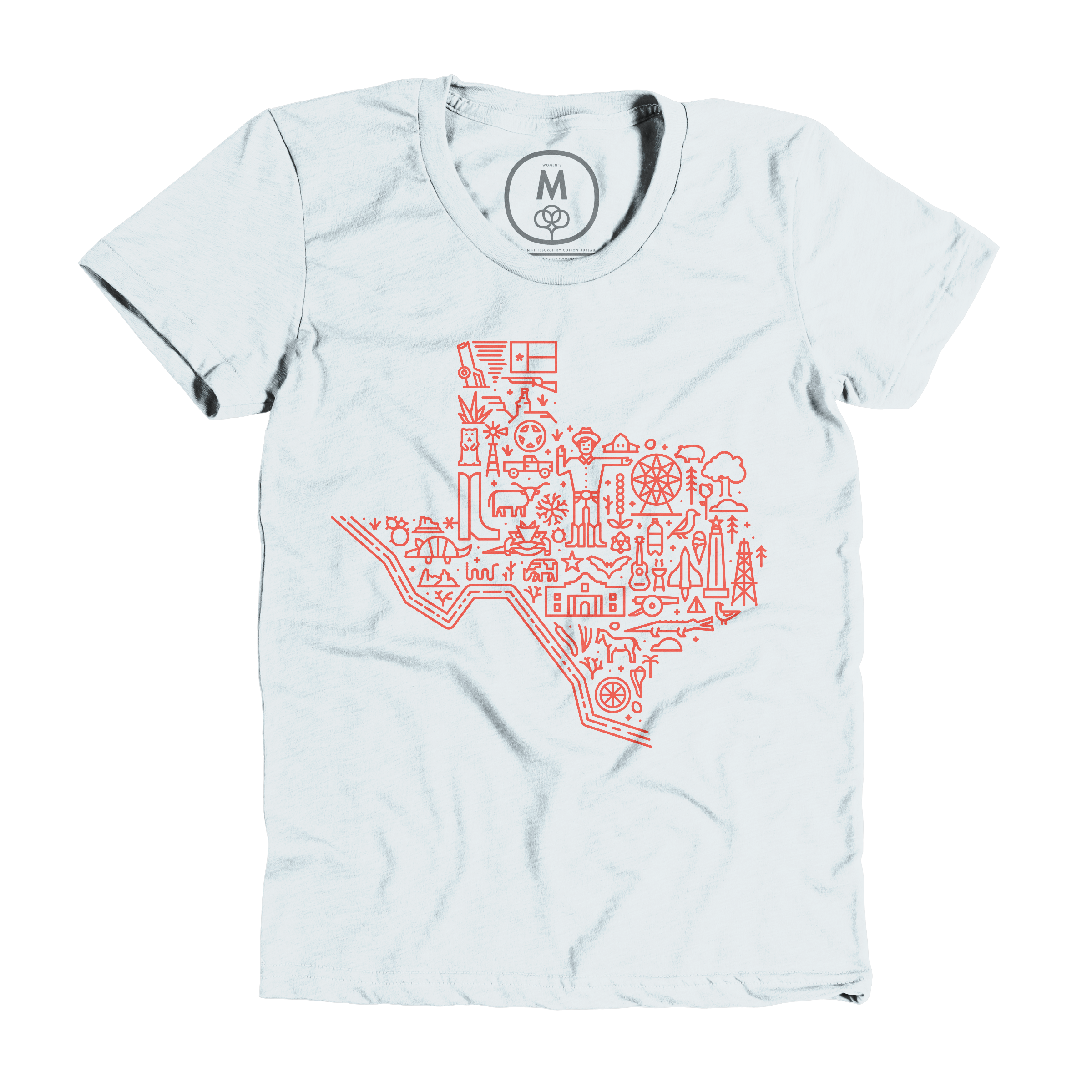 Icon Map of Texas Ice Blue (Women's)