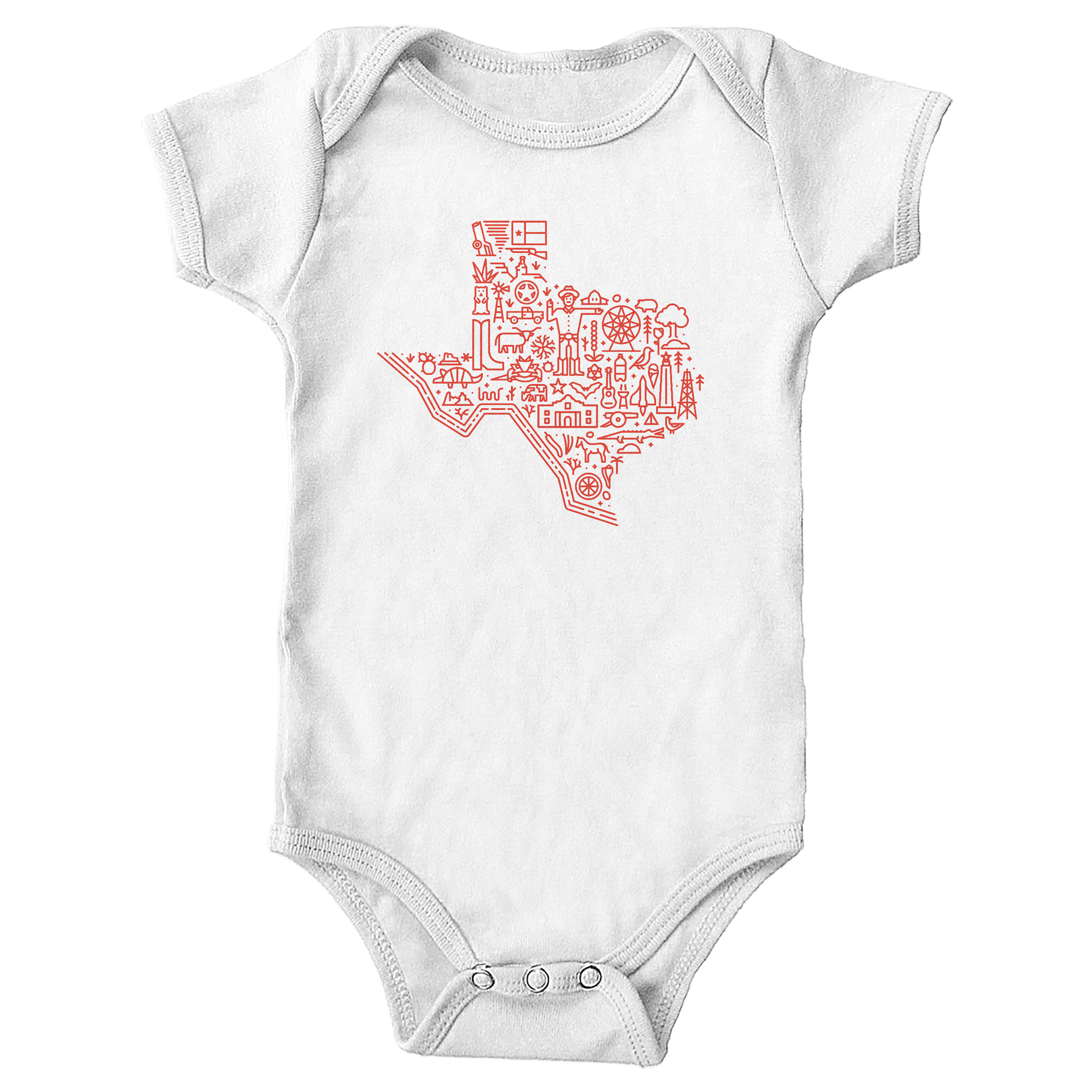Icon Map of Texas White (Onesie)