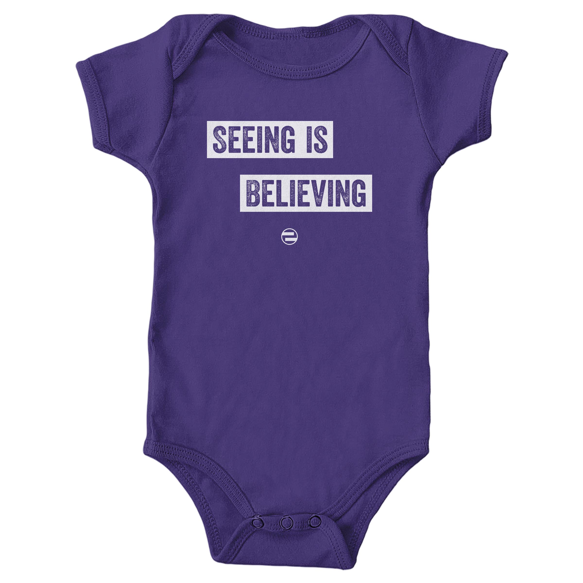 """GenEquality """"Seeing Is Believing"""" Kids Tee & Onesie Purple (Onesie)"""