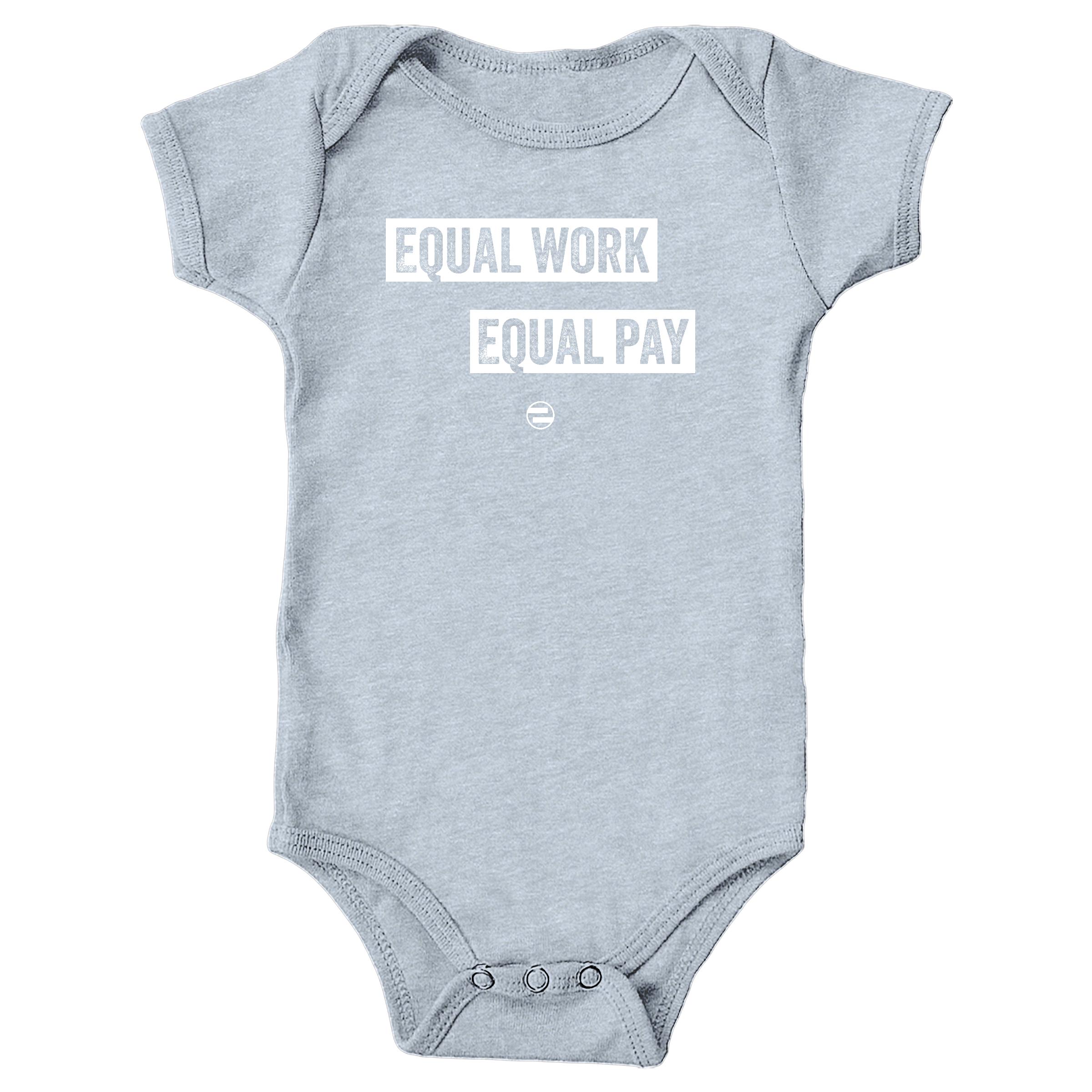 """GenEquality """"Equal Work Equal Pay"""" Kids Tee & Onesie Heather Grey (Onesie)"""