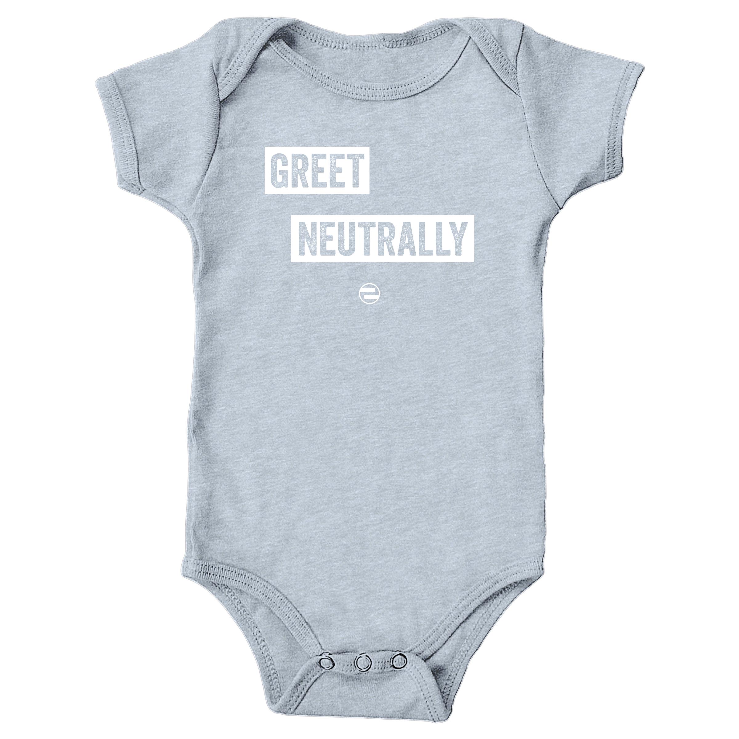 "GenEquality ""Greet Neutrally"" Kids Tee & Onesie Heather Grey (Onesie)"