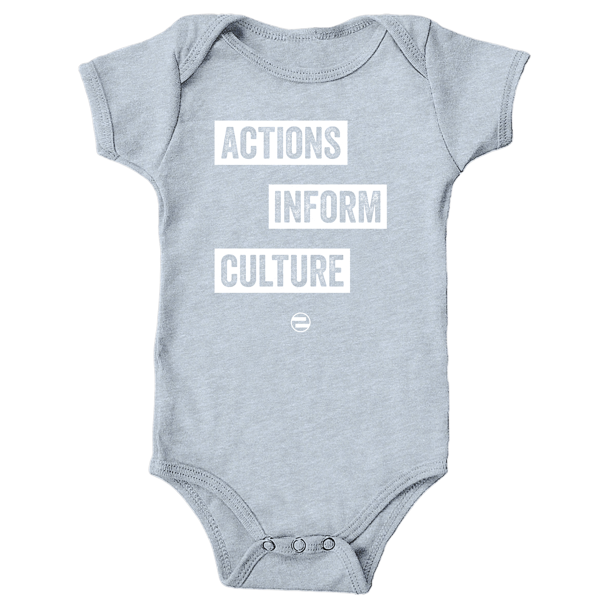 "GenEquality ""Actions Inform Culture"" Kids Tee & Onesie Heather Grey (Onesie)"