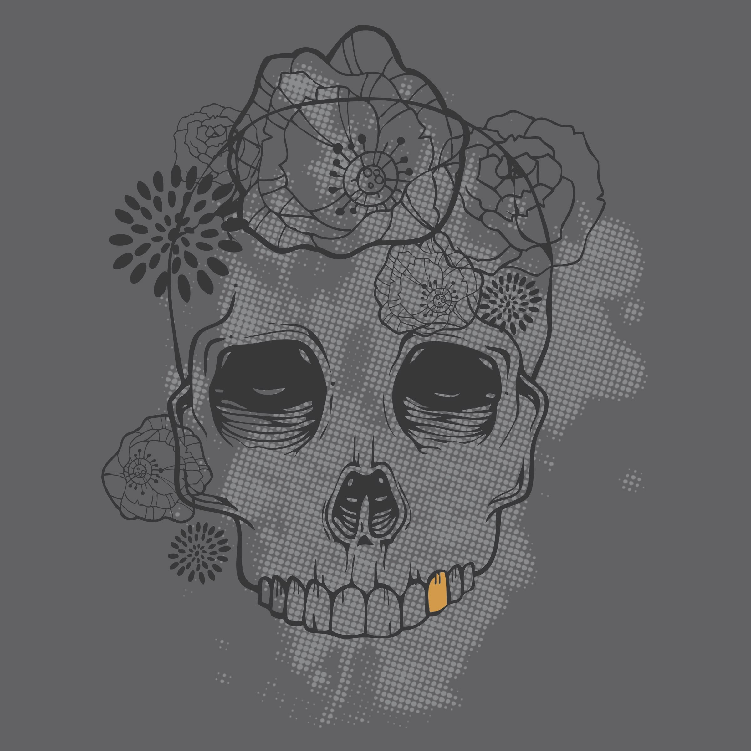 """""""Flower Skull"""" graphic tee by Virginia Poltrack"""