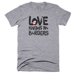 """b35bcd4ea Love Knows No Borders"""" graphic tee and pullover crewneck by Mitchell ..."""