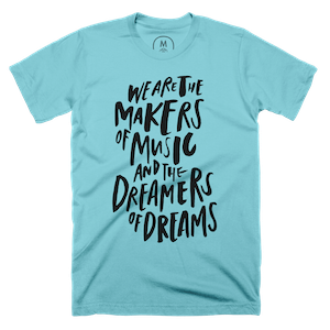 "Makers and Dreamers"" graphic tee by Casey Kleeb. 