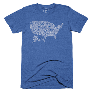 "USA Icon Map"" graphic tee, tank, pullover hoodie, and"