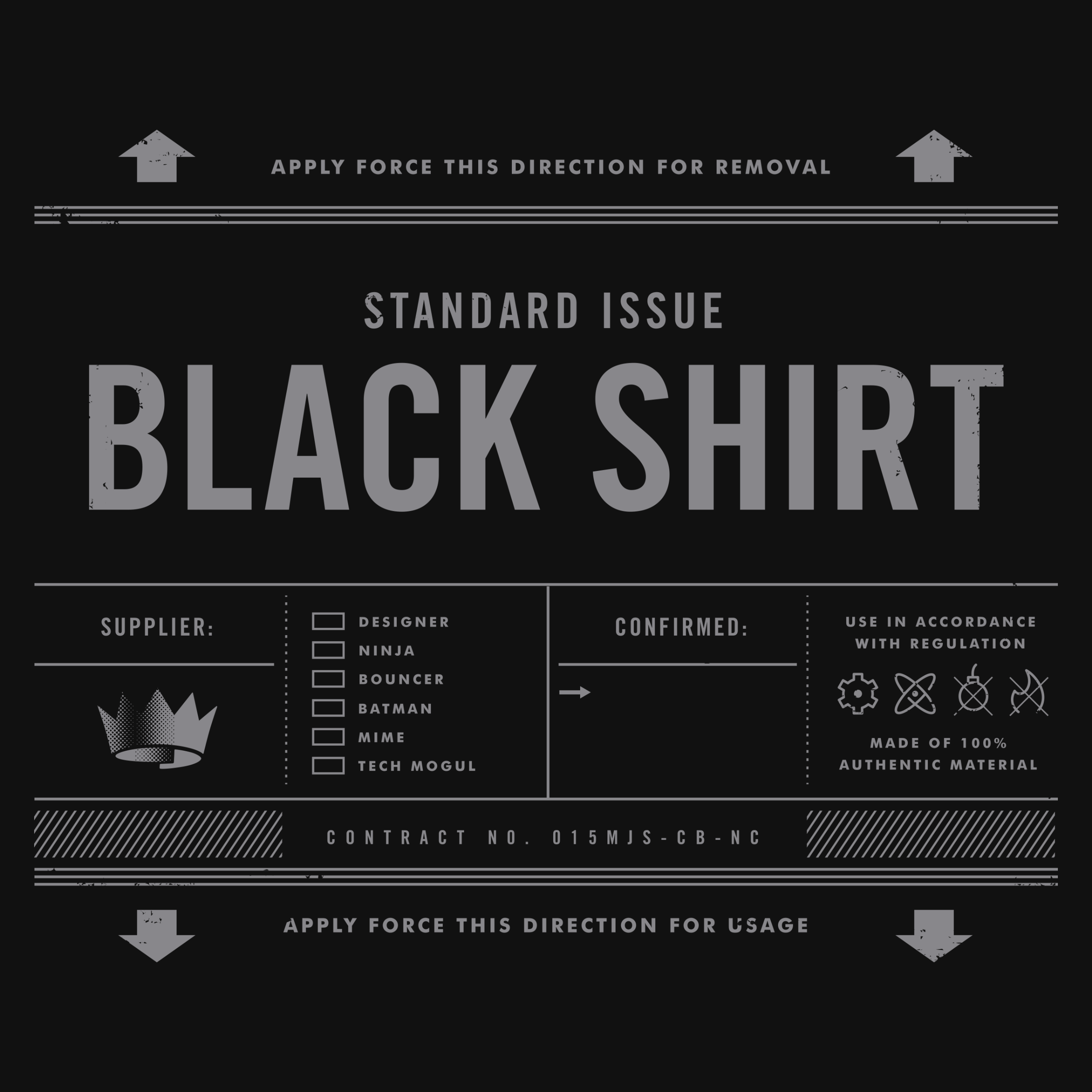 Standard Issue Black Shirt Detail