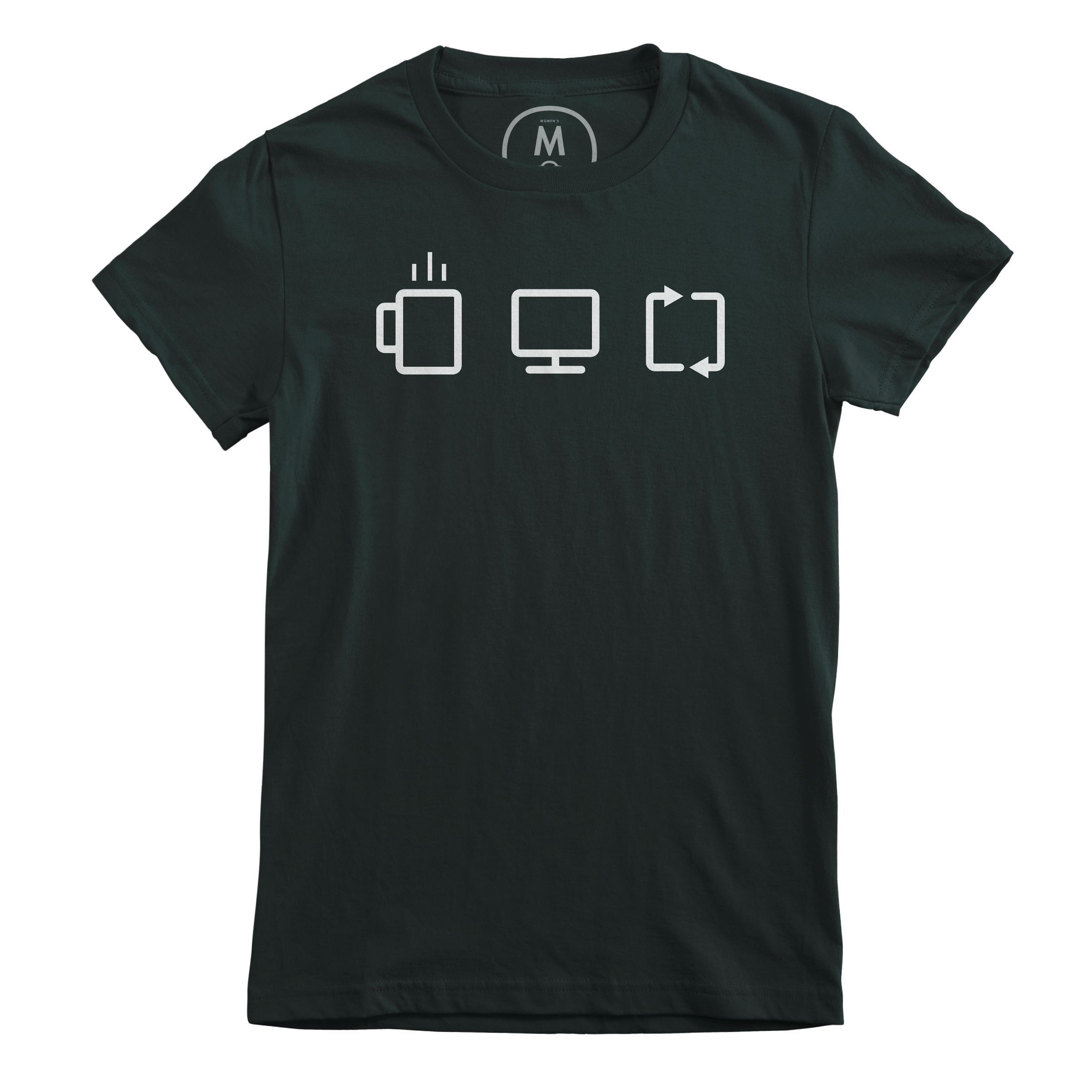 Coffee. Design. Repeat. Forest Green (Women's)