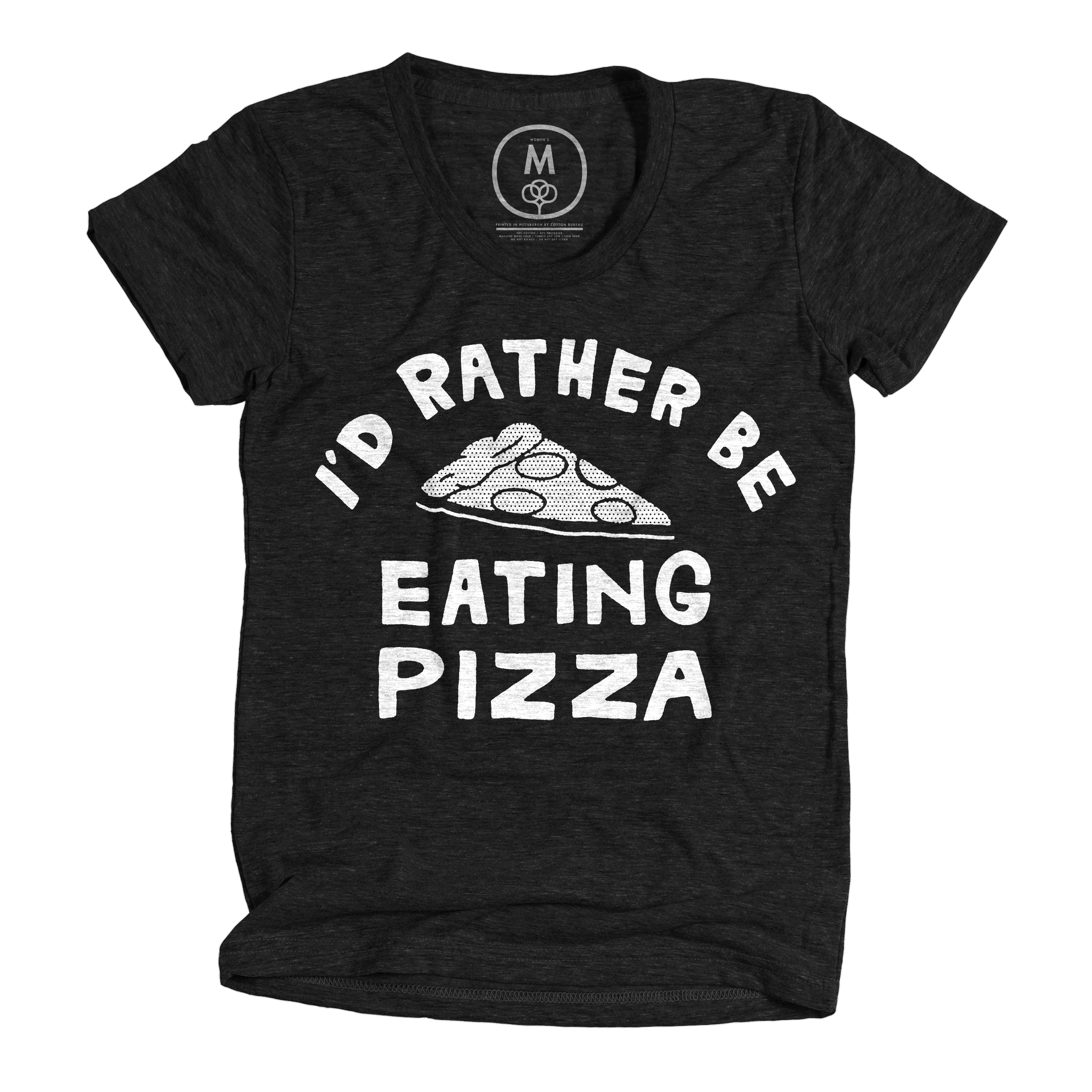 I'd Rather Be Eating Pizza Vintage Black (Women's)