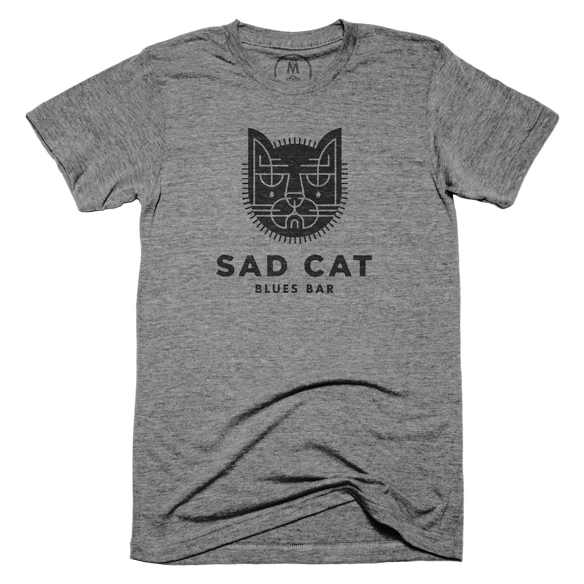 "a35384f70 Sad Cat Blues Bar"" graphic tee by Brian Steely. | Cotton Bureau"
