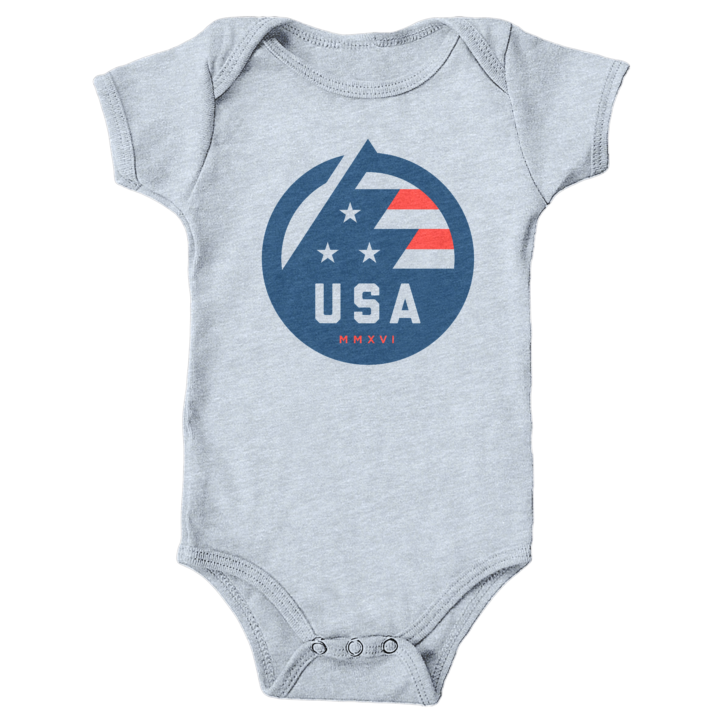 USA All The Way Heather Grey (Onesie)