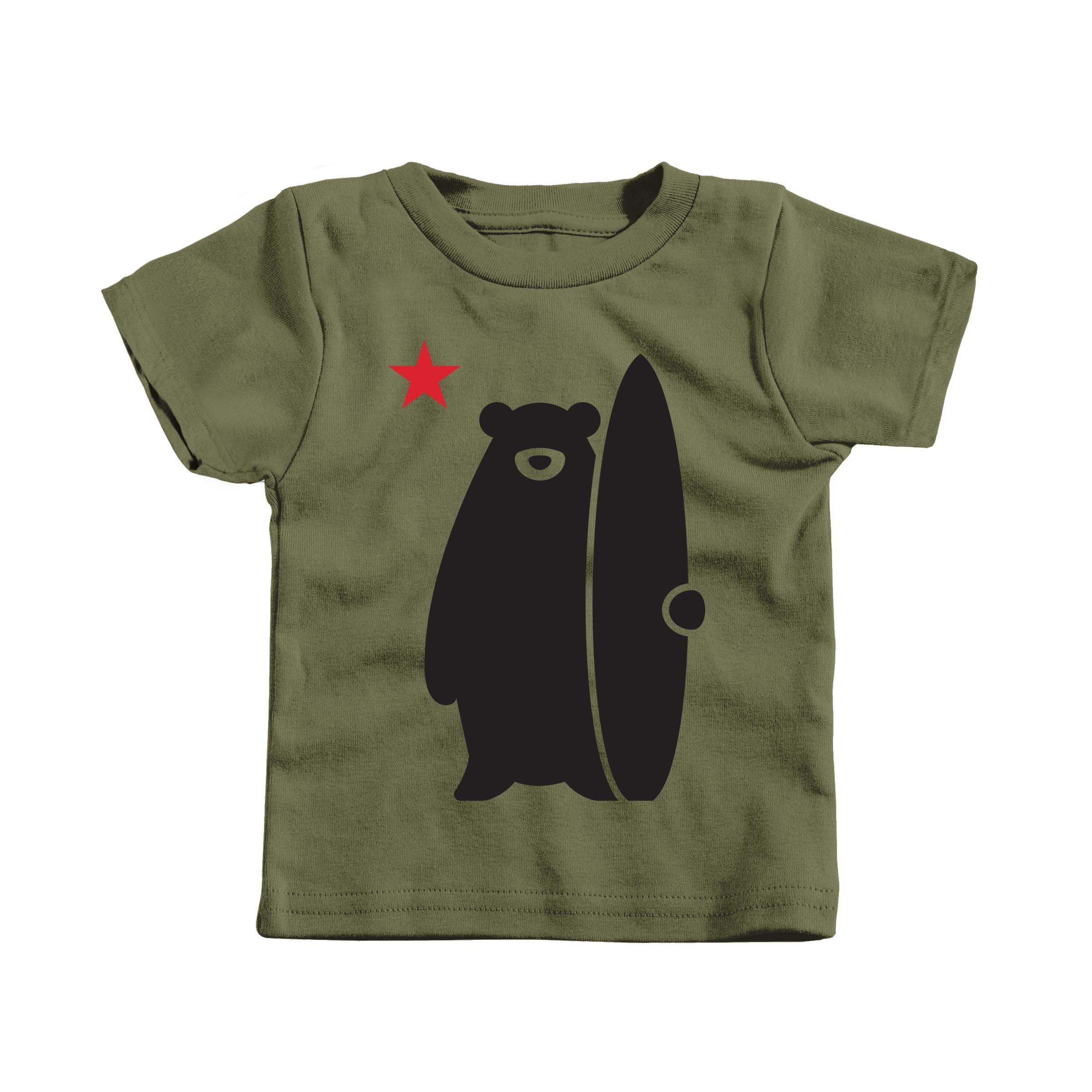 California Surf Bear Military Green (T-Shirt)