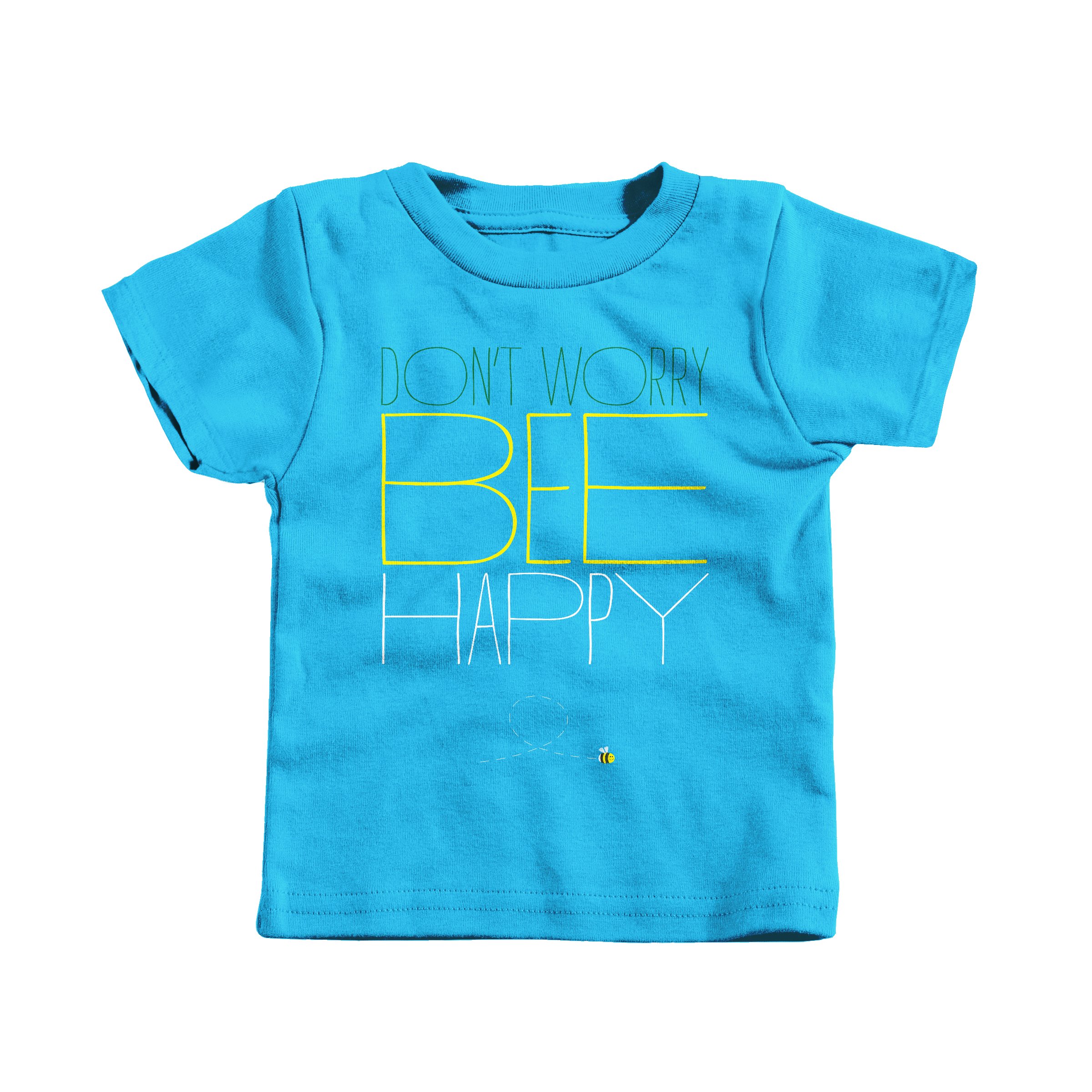 Don't Worry, Bee Happy Turquoise (T-Shirt)