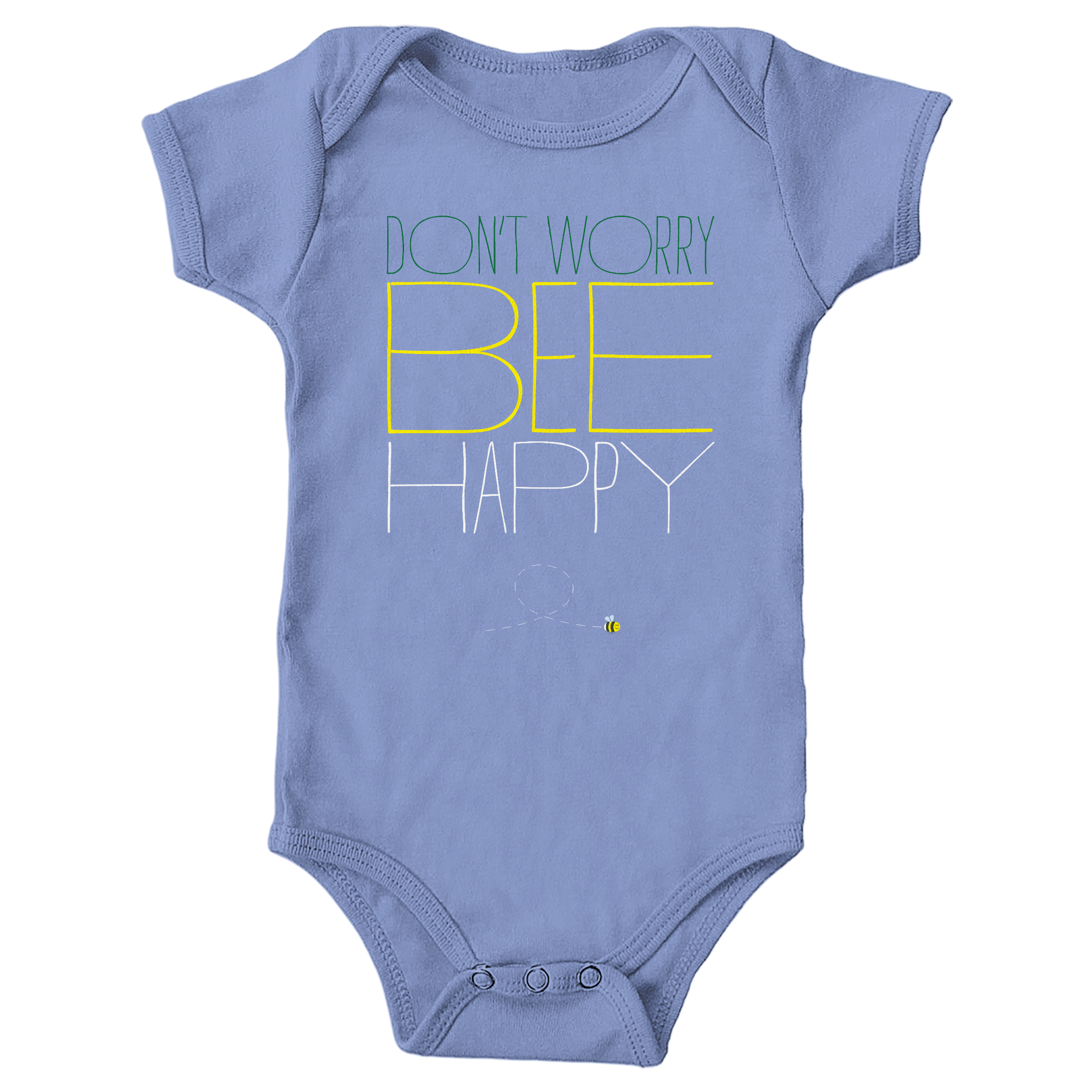 Don't Worry, Bee Happy Carolina Blue (Onesie)